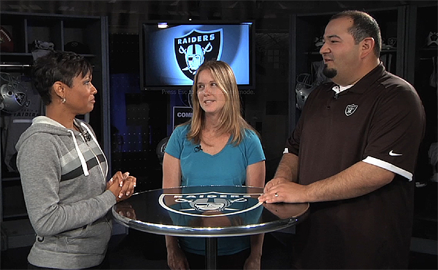 Chris Cortez and Taryn Griffin speak with Jeanette Thompson of Raiders.com. (Oakland Raiders)