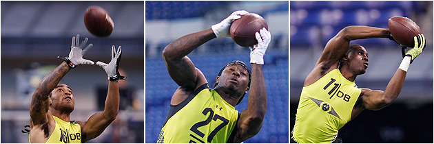 Gilmore, Jenkins, and Claiborne get all high-pointy at the scouting combine. (Getty Images)
