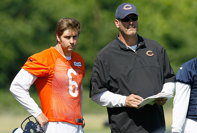 Jay Cutler and Mike Tice in (slightly) happier times. We think. (AP)