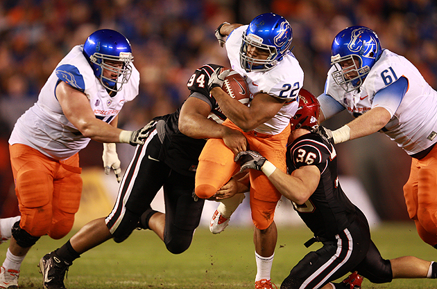 Doug Martin bulls through the pile against San Diego State. (Getty Images)