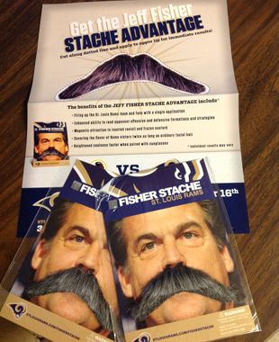 Behold the power of the fake Fisher 'stache. (St. Louis Rams)