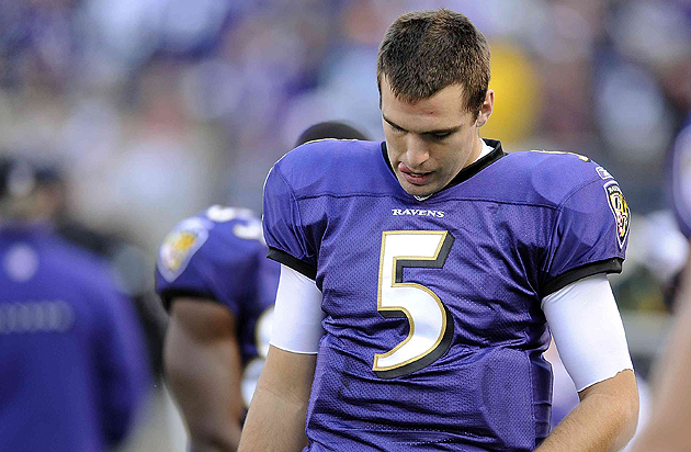 Joe Flacco won't be satisfied until this unibrow is more famous than Anthony Davis'. (AP)