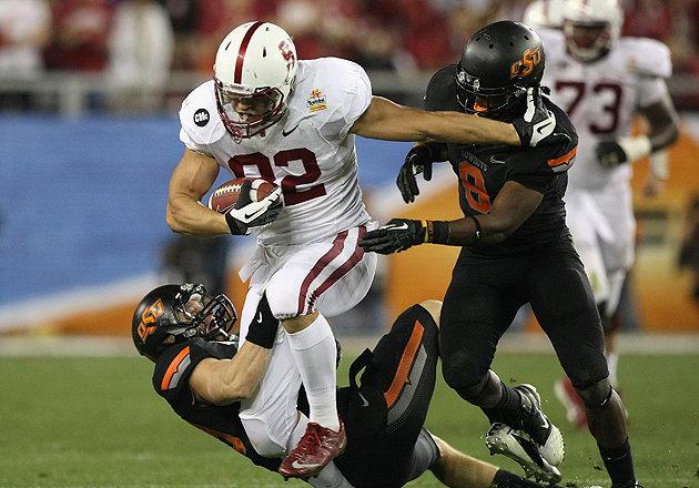 Coby Fleener busts through defenders at the 2012 Fiesta Bowl. (Getty Images)
