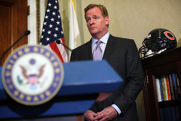 Sorry, guys -- there's still a 'No Smoking' sign in Roger Goodell's office. (Getty Images)