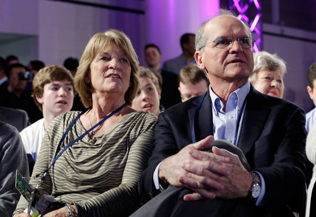 Jack and Jackie Harbaugh look on with great pride as their sons speak about the Super Bowl. (AP)