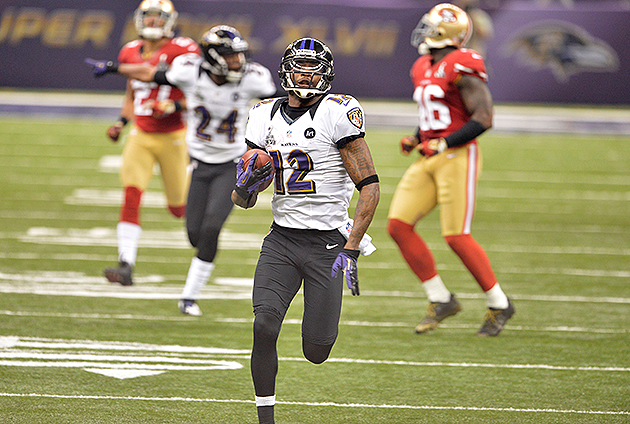 Jacoby Jones broke four Super Bowl records on Sunday night (USA Today Sports Images)
