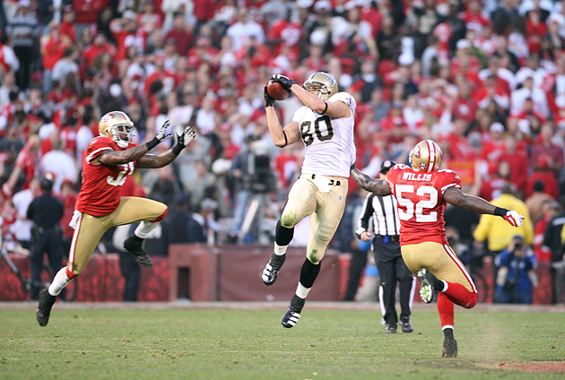 Jimmy Graham (80) will also benefit from the current TE/WR perception schism. (Getty Images)