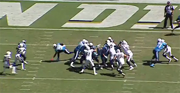 ...but a converging set of defenders and an ankle tackle foiled the plan. (NFL.com)