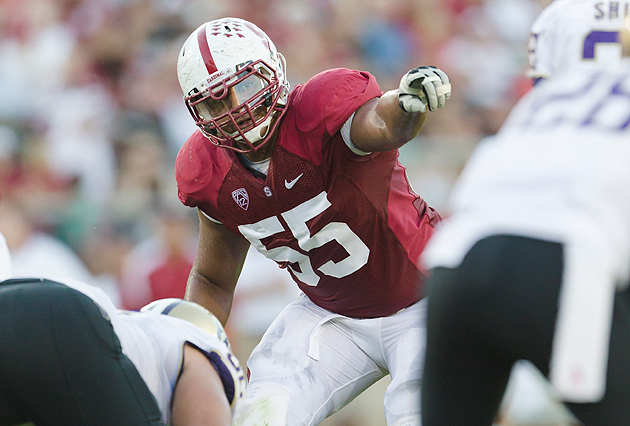 Jonathan Martin lines it up against the Washington Huskies. (Getty Images)