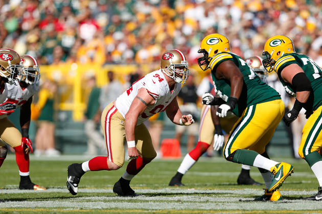 Justin Smith makes all the difference in San Francisco's defense. (Getty Images)