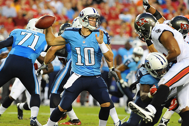 Jake Locker's rough go against the Bucs wasn't held against him. (Getty Images)
