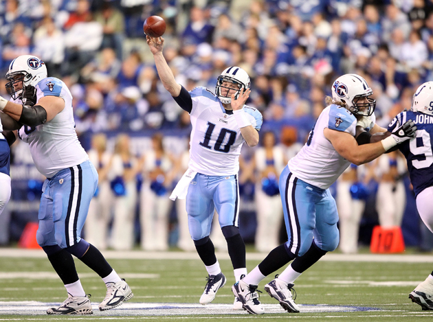Jake Locker is still getting the hang of the pocket. (Getty Images)