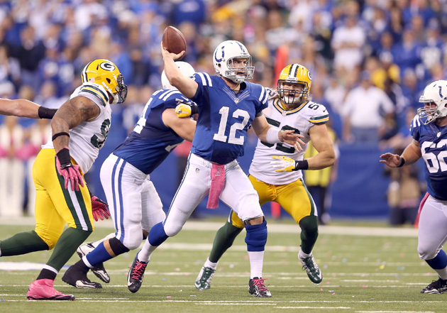 Andrew Luck is playing at an amazing level for a rookie -- no matter who's on his heels. (Getty Images)