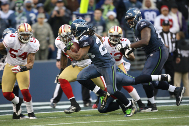 Marshawn Lynch will try to win this game on the ground. (Getty Images)