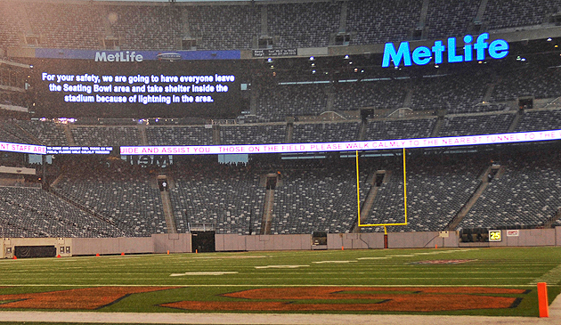 USC-Syracuse, Sept., 2012 -- game halted because of storms. The Super Bowl could be even worse. (AP)
