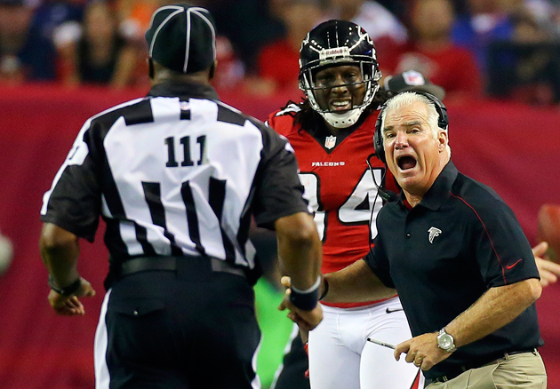 Atlanta's Mike Smith objects in the strongest possible manner to this scurrilous behavior! (AP)