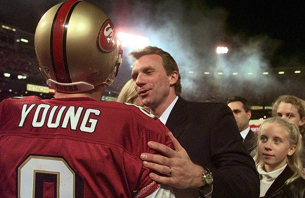 Joe Montana and Steve Young in 1997, putting their own QB controversy behind them. (AP)