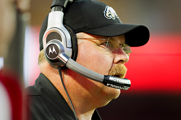 Andy Reid, coaching at Kansas City's Arrowhead Stadium in August, 2010. (Getty Images)