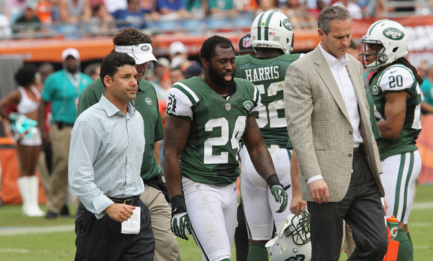 Darrelle Revis walks off the field after suffering a knee injury last September. (Getty Images)