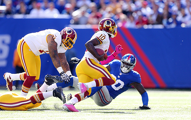 The Giants beat RG3 in Week 7, but they couldn't quite stop him. (Getty Images)