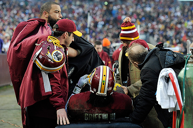 Redskins medical staff examine Robert Griffin's right knee (Getty Images)