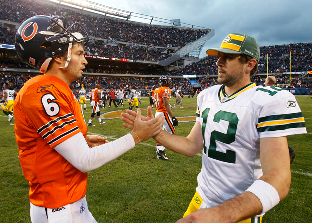 Rodgers was distressed by Cutler's insistence that they thumb-wrestle for command of the NFC North. (AP)