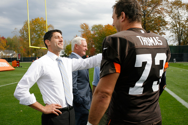 Paul Ryan with Browns tackle Joe Thomas, who Ryan didn't mistake for a quarterback. (AP)