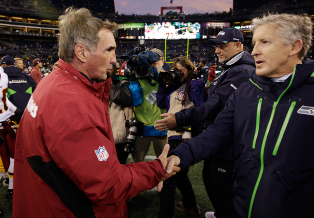 Mike Shanahan and Pete Carroll in 2011. (AP)