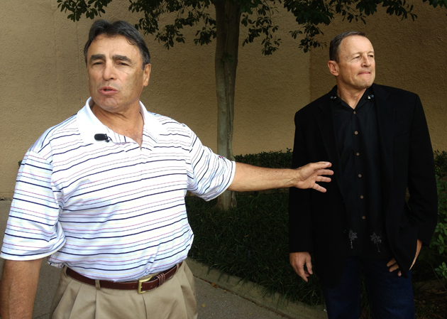 NFL officials Tom Stabile and Ed Hochuli arrive in Dallas to sign the new CBA. (AP)