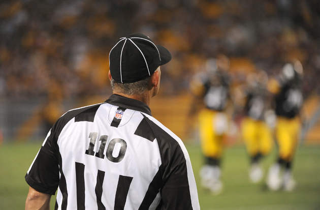 Brian Stropolo works the Steelers-Panthers preseason game on August 30. (Getty Images)