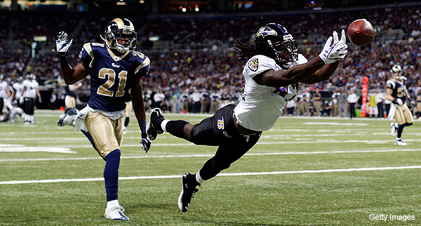 This is the real Torrey Smith. The Madden version is warming up right now. (Getty Images)