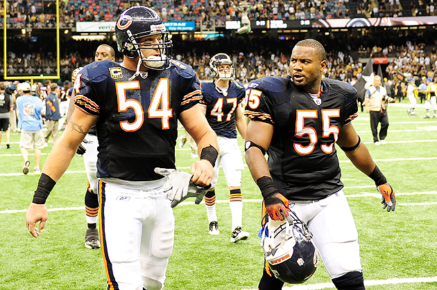 Brian Urlacher (54) and Lance Briggs comprise the heart of the Bears' defense. (Getty Images)