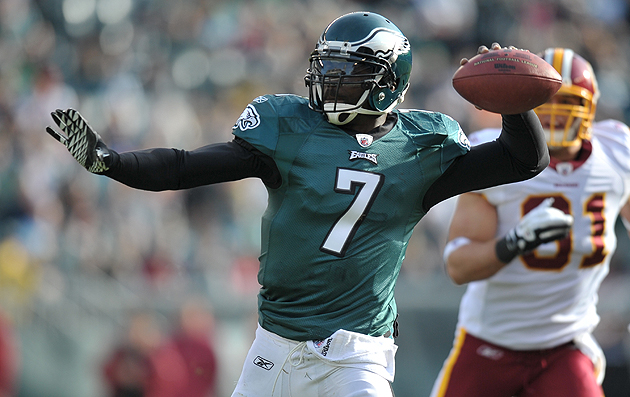 Vick unloads one against the Redskins on January 1, 2012. (Getty Images)