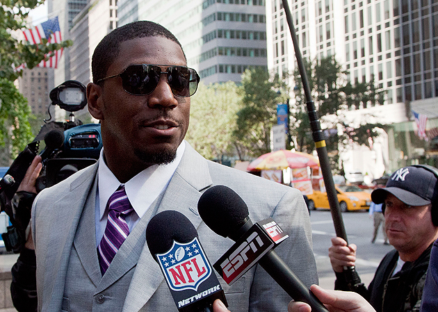 Jonathan Vilma outside the NFL's New York offices on June 18. (AP)