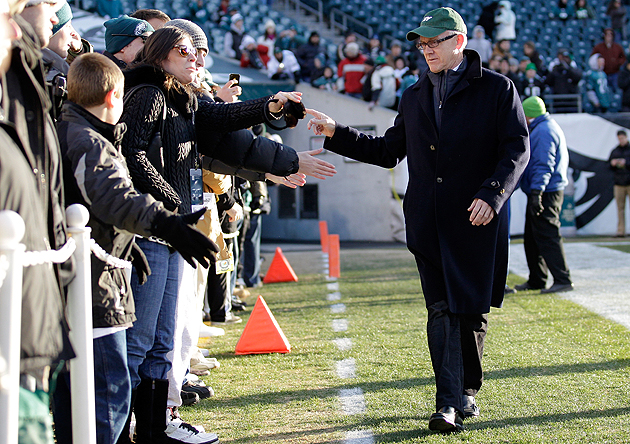Jets owner Woody Johnson talks to fans before a December, 2011 game. (Getty Images)