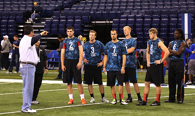 Marching orders for the first group of combine quarterbacks... (USAT Sports Images)