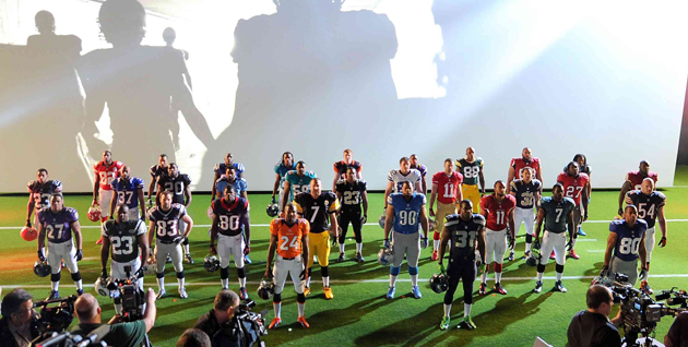 Finley (back row, third from the right) represented the Packers at Nike's uniform unveil. (Getty Images)