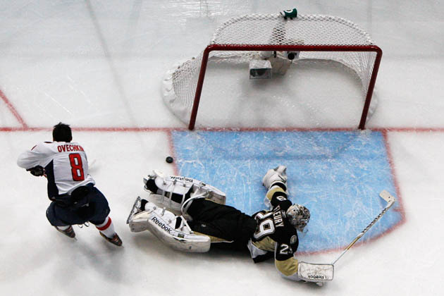 Alex Ovechkin dekes Marc-Andre Fleury at the 2011 Breakaway Challenge (Getty Images)