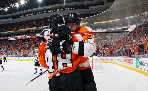 Philadelphia Flyers hockey hug