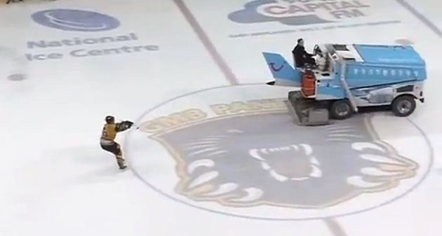 Zamboni waterskiing? Former NHLer David Ling pretends to ice-ski during broken glass delay (VIDEO)