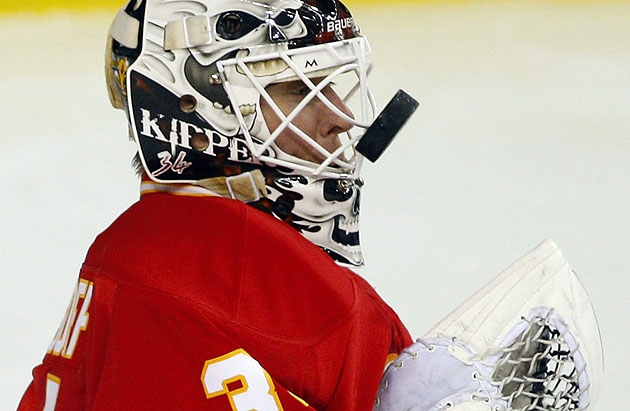 AP - Miikka Kiprusoff keeps his eye on the puck vs. Toronto