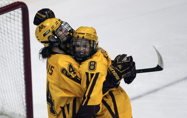 University of Minnesota hockey hug