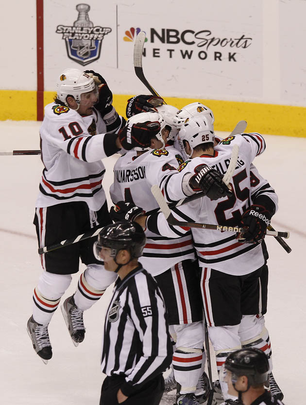 Chicago Blackhawks hockey hug