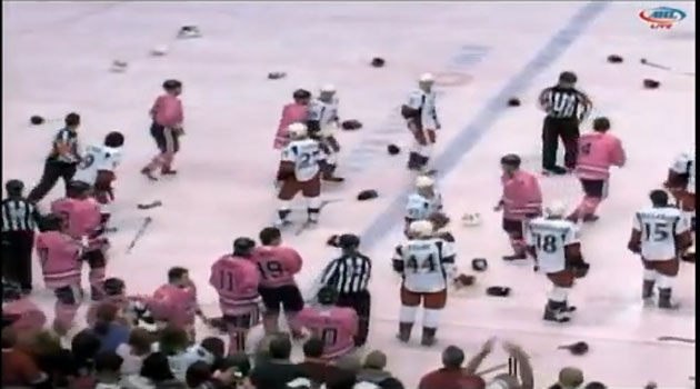 Watch insane benches clearing hockey brawl; with pink jerseys, 13 ejections between IceHogs and Griffins (VIDEO)