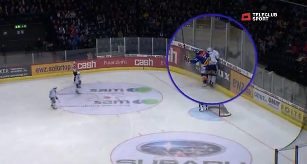 Marc Abplanalp knocked unconscious on hit from behind; Swiss player stretchered off (Video)