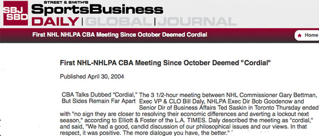NHL, NHLPA complete first day of 'cordial' talks; where have we heard that before?