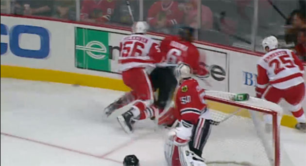 Detroit's Teemu Pulkkinen faces suspension for hit from behind on Blackhawks' Michael Kostka
