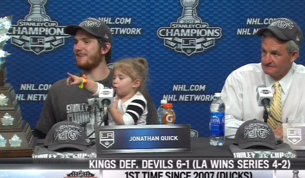 Jonathan Quick's adorable daughter wins Stanley Cup postgame press conference MVP (VIDEO)