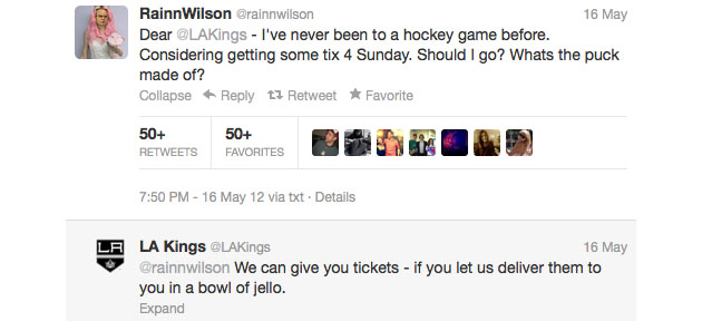 Los Angeles Kings give Rainn Wilson, aka Dwight Schrute, free playoff tickets in a Jell-O mold