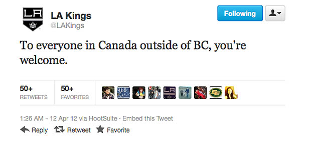 Kings apologize for trolling Canucks on Twitter after Game 1 win